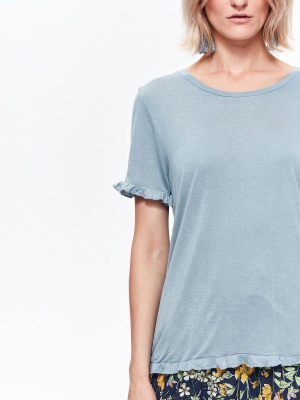 9a71b038ef13 Tričko s krátkym rukávom biele s riasením na prsiach