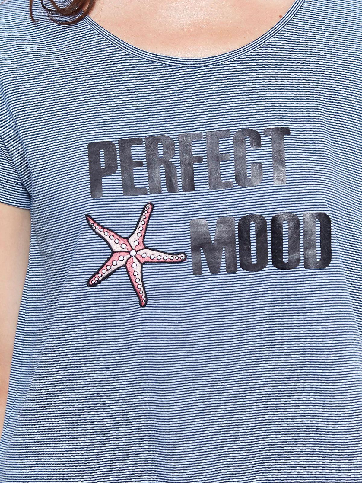 4c754e207748 Tričko s krátkym rukávom modré pásikavé a nápisom PERFECT MOOD ...