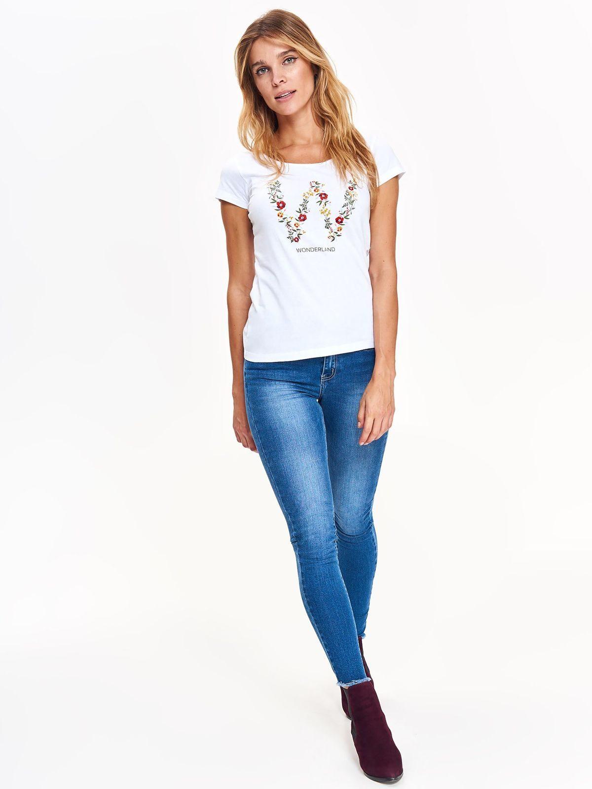 Tričko s krátkym rukávom biele s potlačou kvetín  ad11f321f68