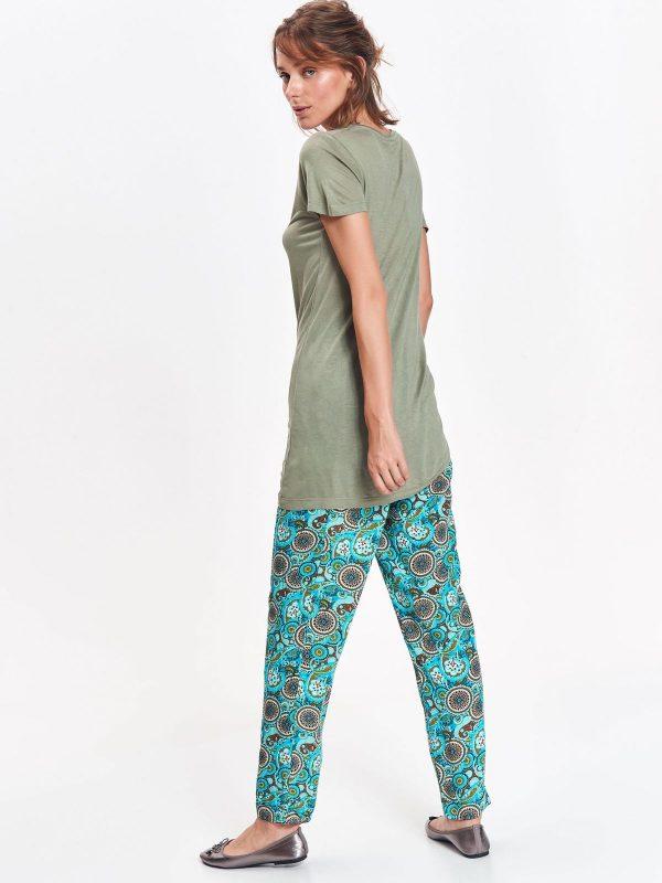 Tričko zelené s krátkym rukávom s viazaním na boku  800b1b5a5fa