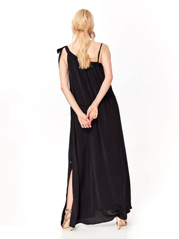 09ea38edf785 Šaty dlhé čierne s mašľou na ramene