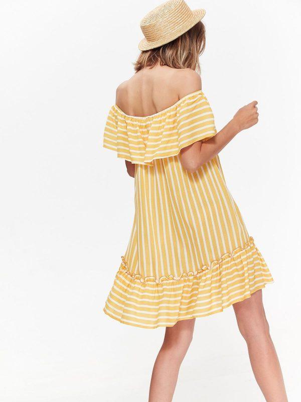 cd9592fc9f0c Šaty žlté s bielymi pásikmi a volánmi na rukávoch a sukni