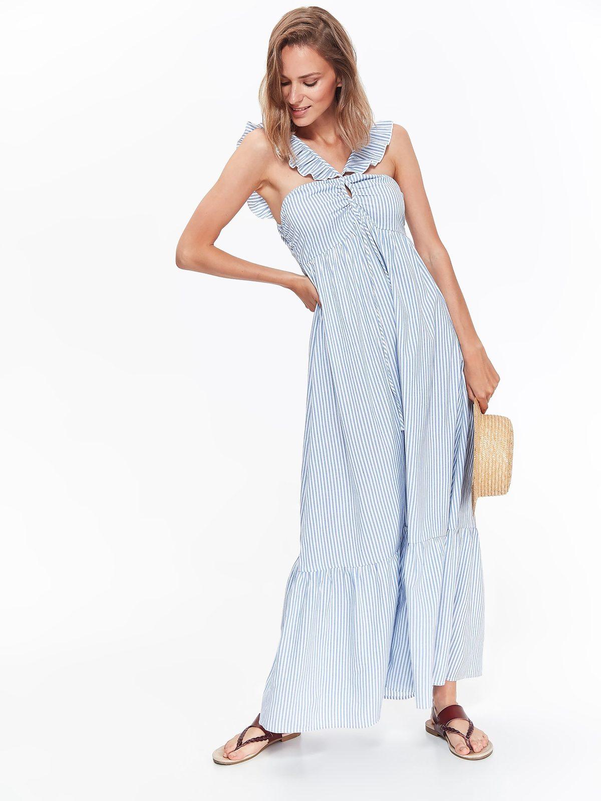 74e327e04095 Šaty dlhé bielo-modré pásikavé so šnúrkou
