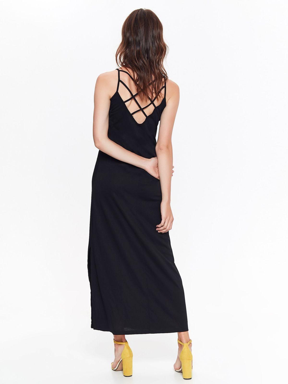4e8d665c3784 Šaty dlhé čierne ramienkové s výstrihom na chrbte