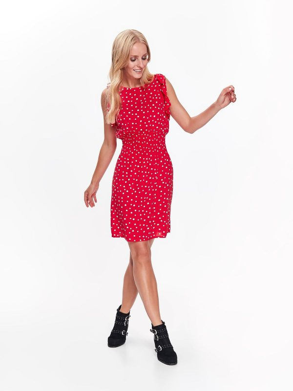 38ed5af40ace Šaty červené s bielymi bodkami a výstrihom na chrbte