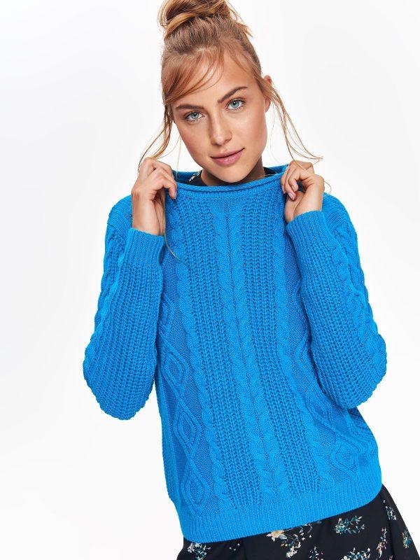 Sveter modrý s pleteným vzorom  8d7b953d94e