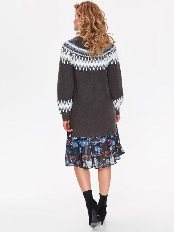 73f0aec847c6 Šedý sveter dlhý s nórskym vzorom