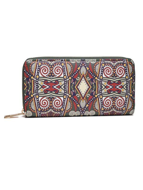 Peňaženka tmavozelená s ornamentmi  347b6594917