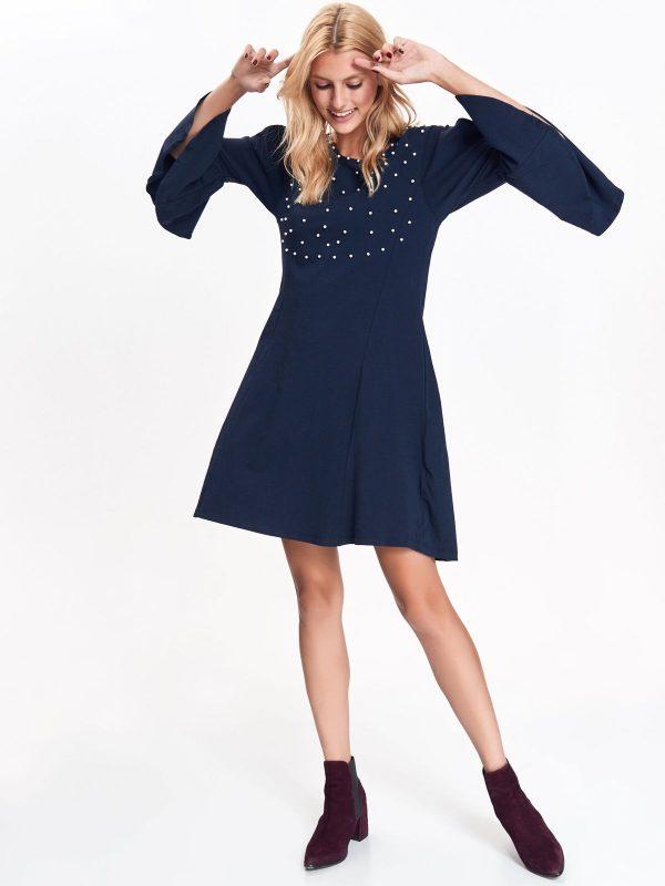 b9457887dcda Šaty modré s bielymi guličkami a zvonovými rukávmi